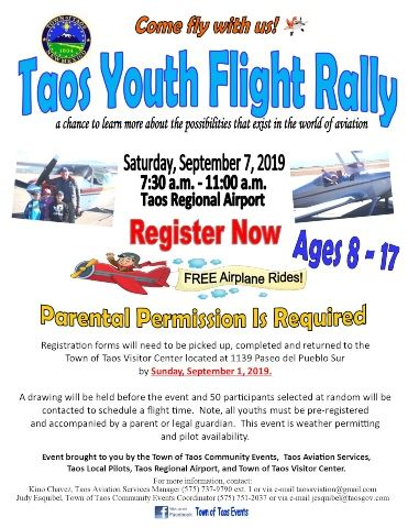 Taos Youth Flight Rally flyer 2019 website