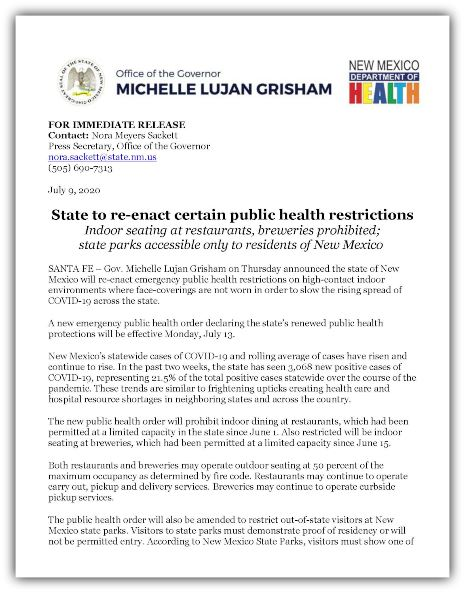 FOR IMMEDIATE RELEASE State to re-enact certain Public Health Restrictions 07-10-20_Page_1