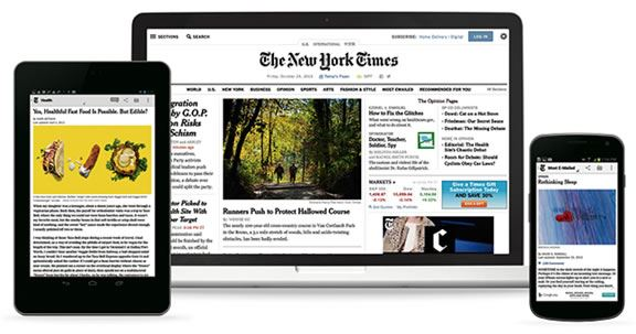 Images of the New York Times website on various mobile devices