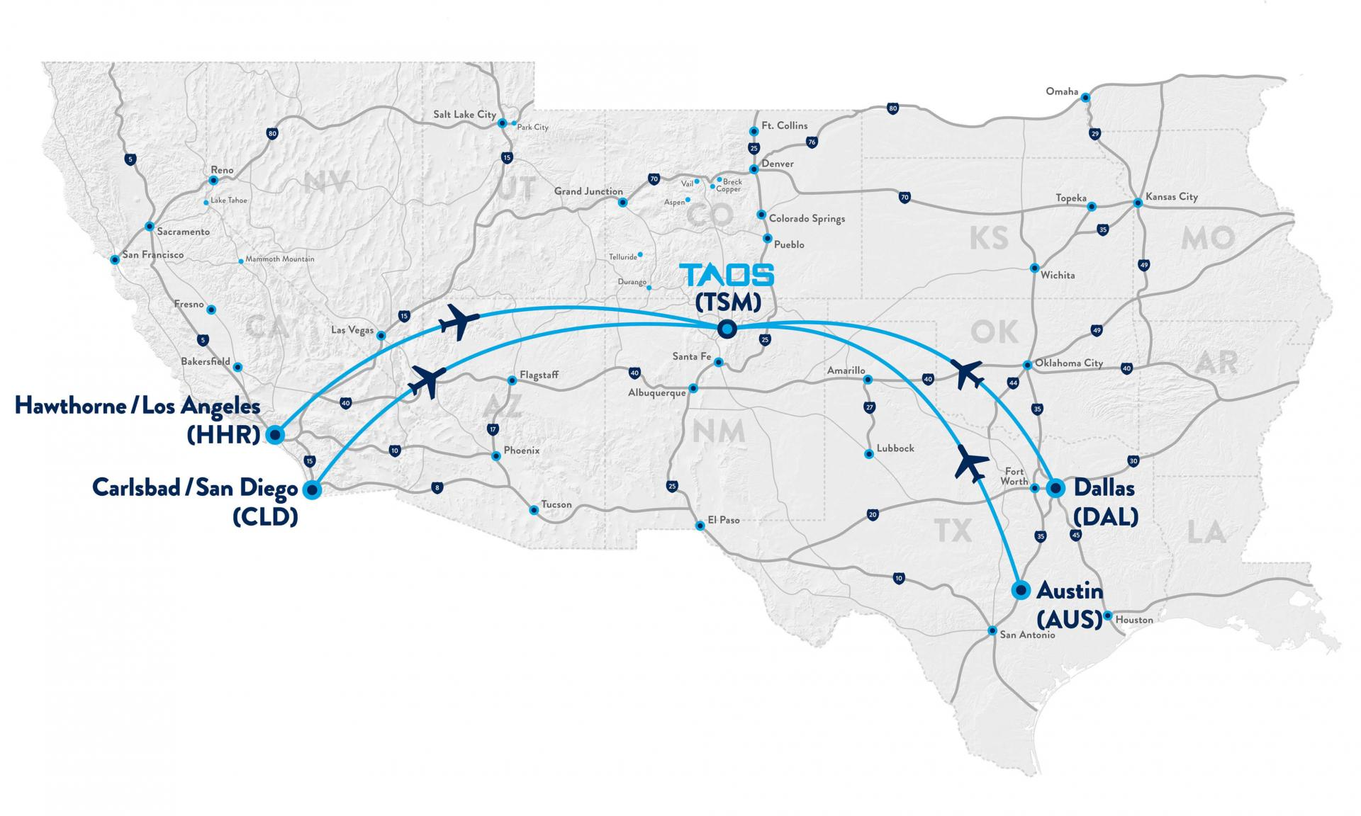 Taos Air Flight Map